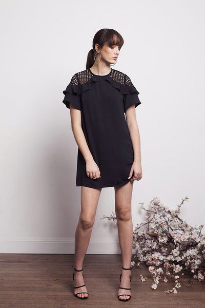 SOCIAL FRILL MIX DRESS