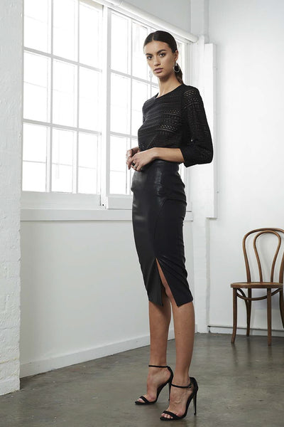 STATUS VEGAN LEATHER SKIRT