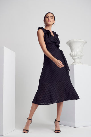 CALIBRE DOT WRAP DRESS