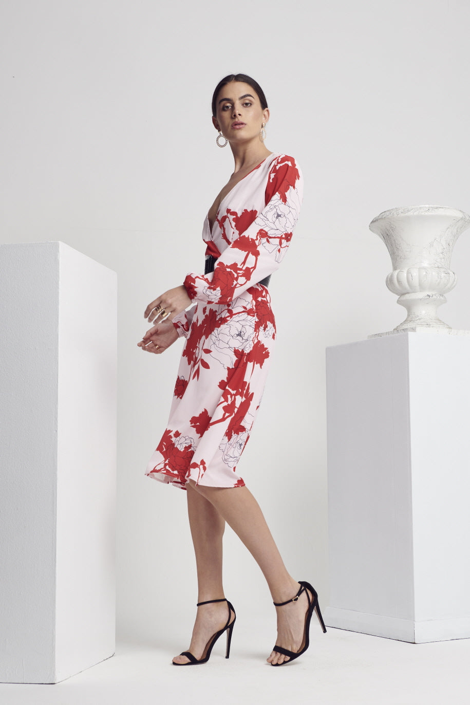 CALIBRE FLORAL L/SLV DRESS