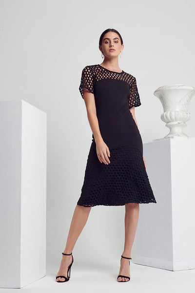 CLASS CROCHET MIX MIDI DRESS