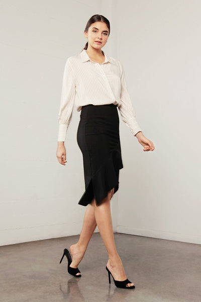 ENCHANT RUFFLE MIDI SKIRT