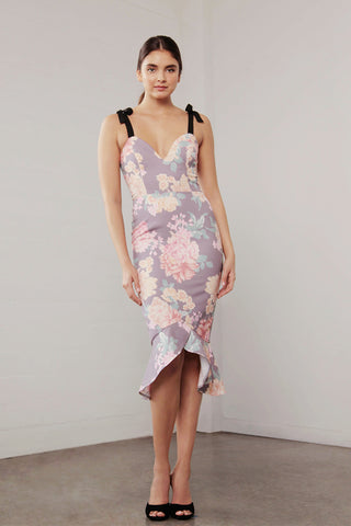 UTOPIA MOCHA FLORA SH/TIE DRESS