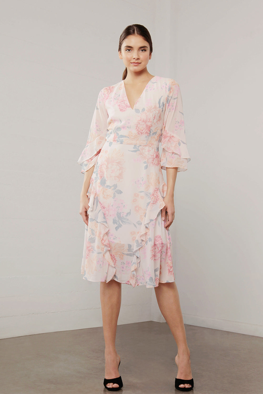 UTOPIA PEACH FLORA MIDI DRESS
