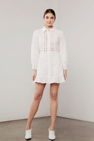 UTOPIA LINEN LACE TRIM DRESS