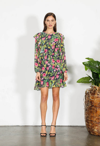 ELEMENT FLORAL L/SLV DRESS