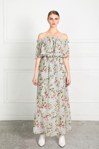 OBTAIN PEARL FLORAL LONG DRESS