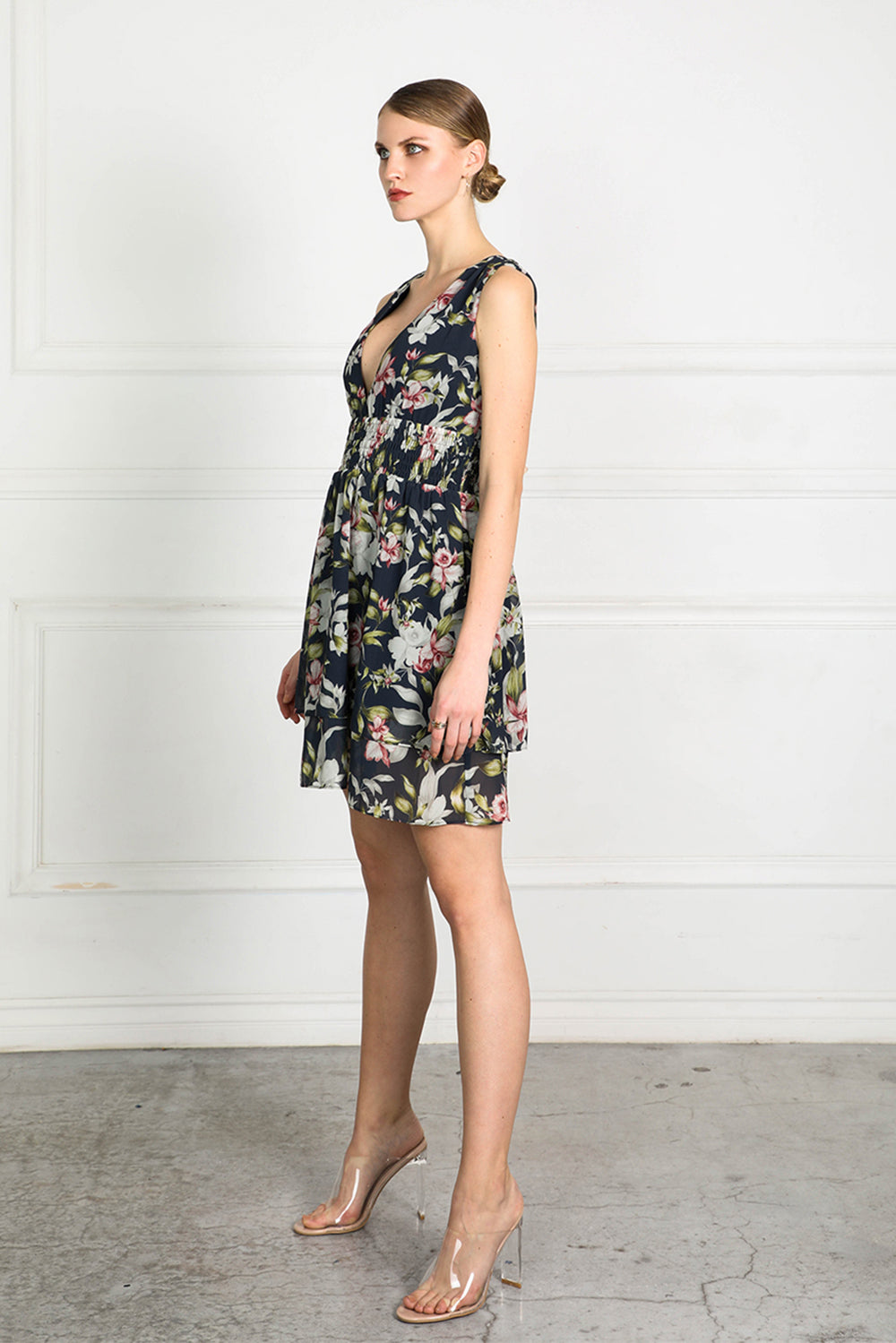 OBTAIN INK FLORAL SHORT DRESS