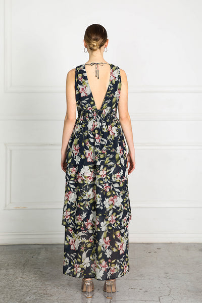 OBTAIN INK FLORAL LONG DRESS
