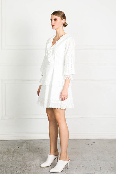 OBTAIN EMBROID LACE TRIM DRESS