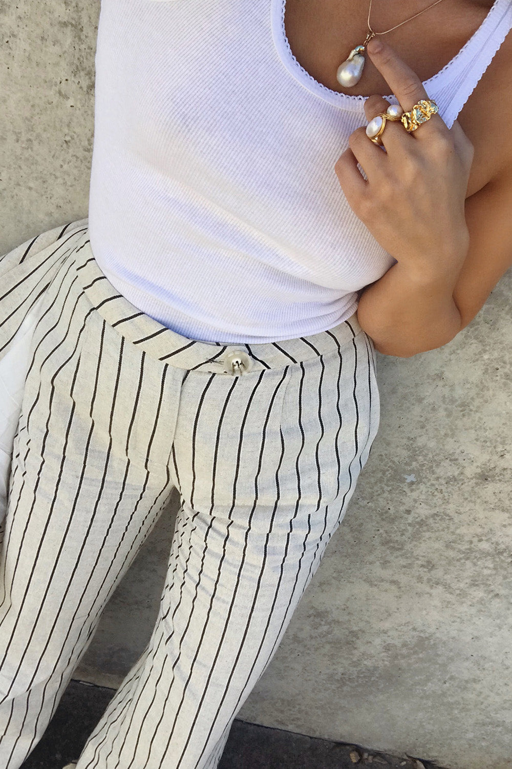 ENCHANT STRIPE LINEN PANTS