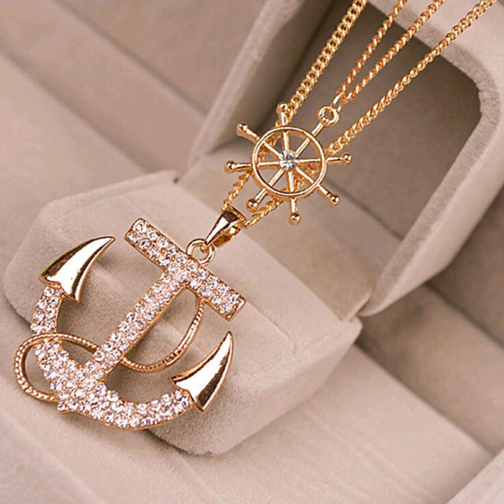 White anchor crystal rhinestone necklace