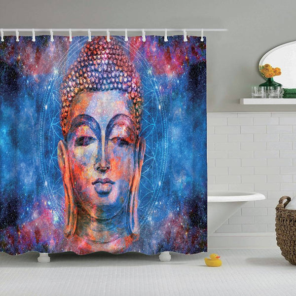 Space Buddha Shower Curtain - Hippie Flower of Life