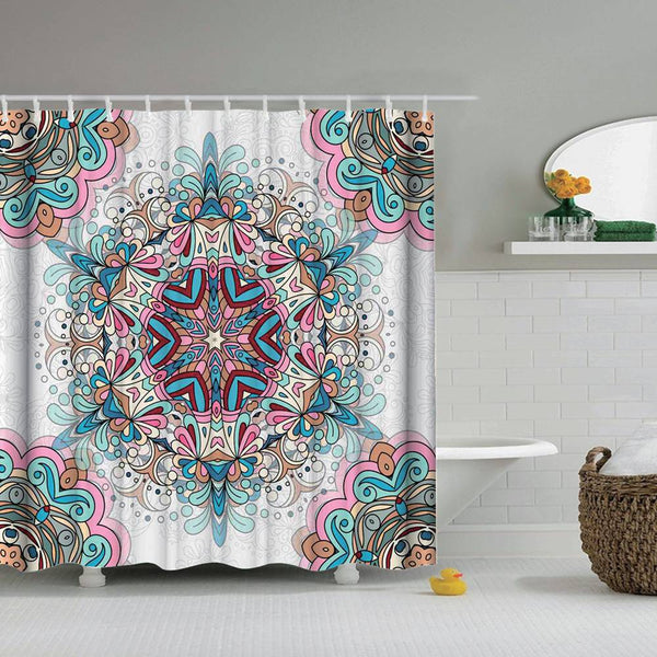 Kaleidoscope Shower Curtain Mandala Psychedelic Pattern with Hooks
