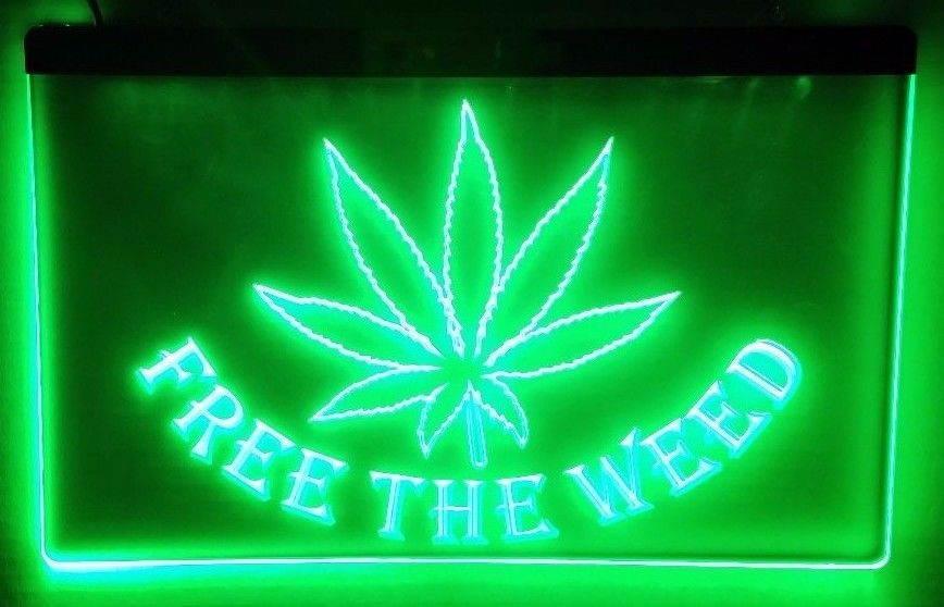 Free the Weed Stoner LED Sign Head Smoke Shop Light - 1st Door Imports