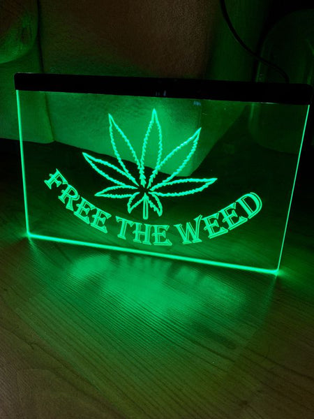 Free the Weed Stoner LED Sign Head Smoke Shop Light