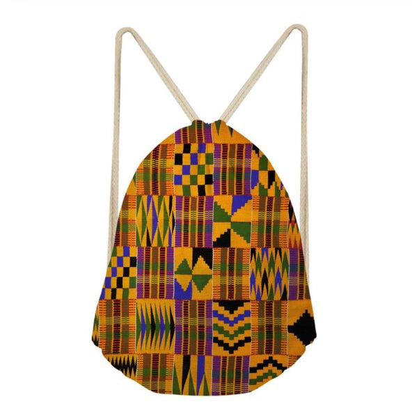 Kente Print Drawstring Bag African Design Backpack