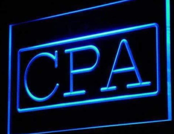 CPA LED Sign Light Advertisement Open Certified Public Accountant