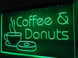Coffee & Donuts LED Sign Light Advertisement Open