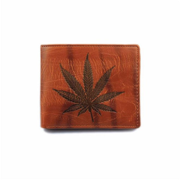 Weed Leaf Wallet - Leather Bifold - Cannabis Marijuana Imprint