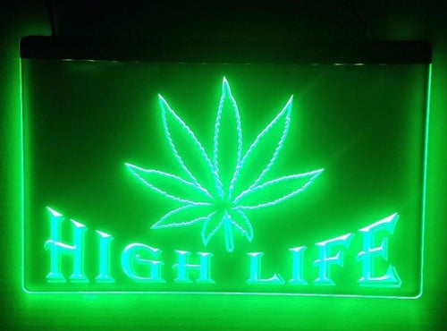 High Life Weed LED Sign Smoke Marijuana Light