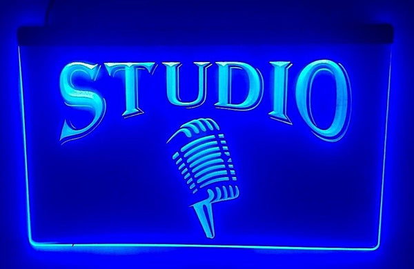 Studio LED Sign with Classic Vocal Mic Logo - 1st Door Imports
