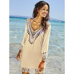 Beach Cover Up Crochet Panel Tunic - 1st Door Imports