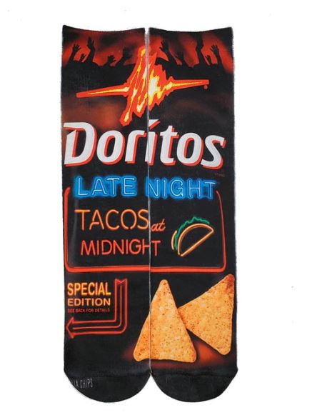 Doritos Graphic Socks Tacos at Midnight Novelty Dress Cotton Crew