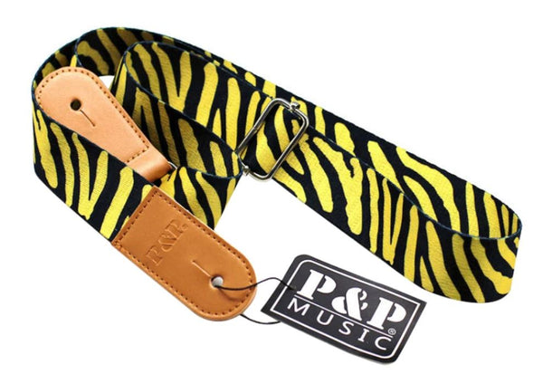 Yellow Tiger Stripe Guitar Strap