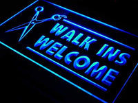 Walk Ins Welcome LED Sign Salon Barber Shop Light Ad Open