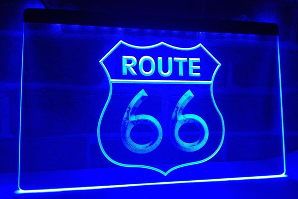 Route 66 LED Sign Light BLUE for Car Garage