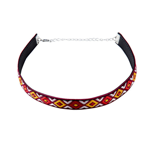 Ethnic Bohemian Chokers Tribal Pattern Embroidered Diamonds - 1st Door Imports