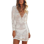 Knit Beach Cover Up White Short Skirt with Long Sleeves - 1st Door Imports