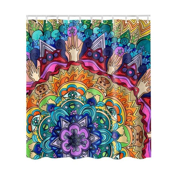 Psychedelic Shower Curtain Trippy Stoner Graphic Mandala Pattern w/ Hooks