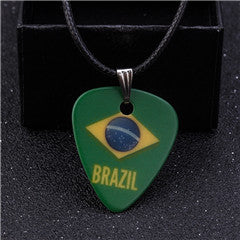 Brazil Flag Guitar Pick Necklace - 1st Door Imports