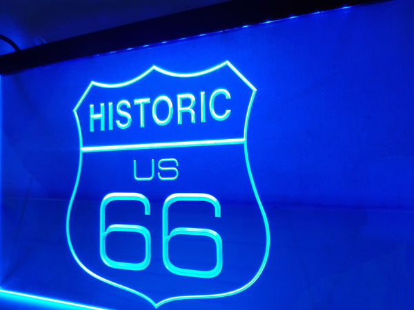 Historic US Route 66 LED Sign BLUE Car Garage Light - 1st Door Imports