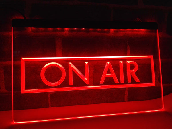 Framed On Air LED Sign RED Radio Podcast Show Recording Studio - 1st Door Imports