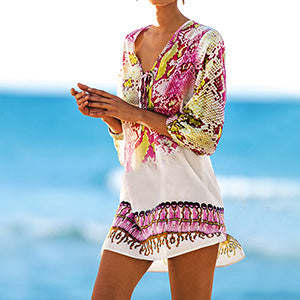 Snake Print Beach Cover Up Pink Blue Snakeskin