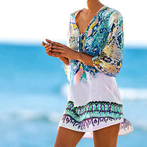 Snake Print Beach Cover Up Pink Blue Snakeskin - 1st Door Imports