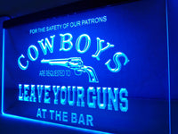 Dallas Cowboys Leave Your Guns at the Bar LED Bar Sign BLUE - 1st Door Imports