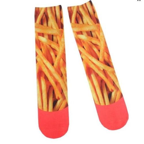 French Fry Graphic Socks Dress Novelty Cotton Crew Cut - 1st Door Imports