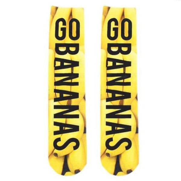Go Bananas Funny Graphic Socks Novelty Fruit Food Cotton Crew Cut - 1st Door Imports