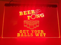 "Beer Pong ""Get Your Balls Wet"" LED Sign - 1st Door Imports"