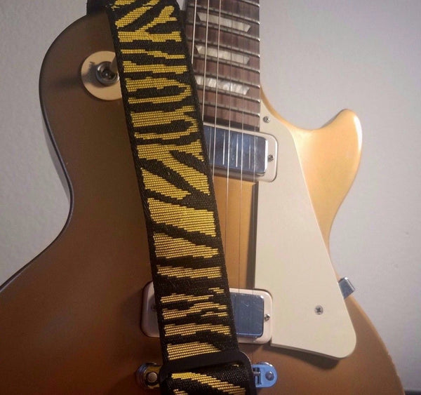 Yellow Tiger Stripe Guitar Strap - 1st Door Imports