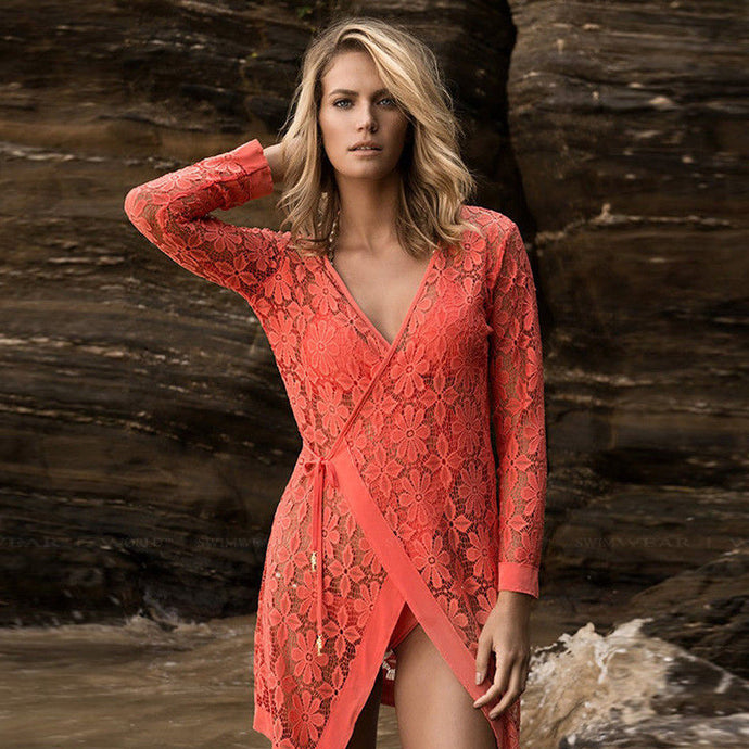 Floral Lace Swimsuit Cover Up Robe