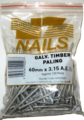 Loose Nails 60 x 3.15 Galv 500g AG Paling