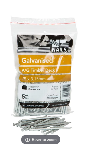 Loose Nails 75 x 3.15 Galv 500g AG Decking