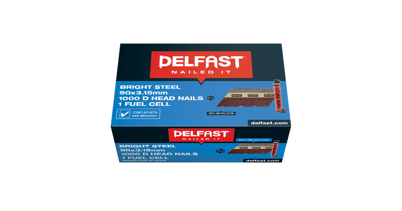 Gun Nails Delfast 90mm DHEAD Bright 1000 With 1 Twintip Fuel Cell