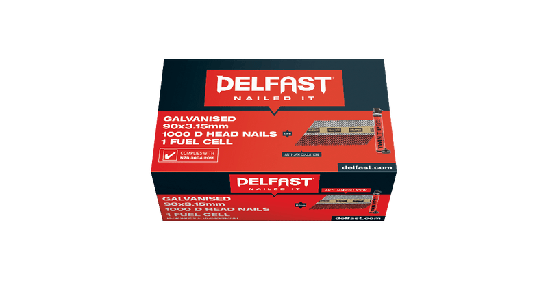 Gun Nails Delfast 90mm DHEAD Galv 1000 With 1 Twintip Fuel Cell