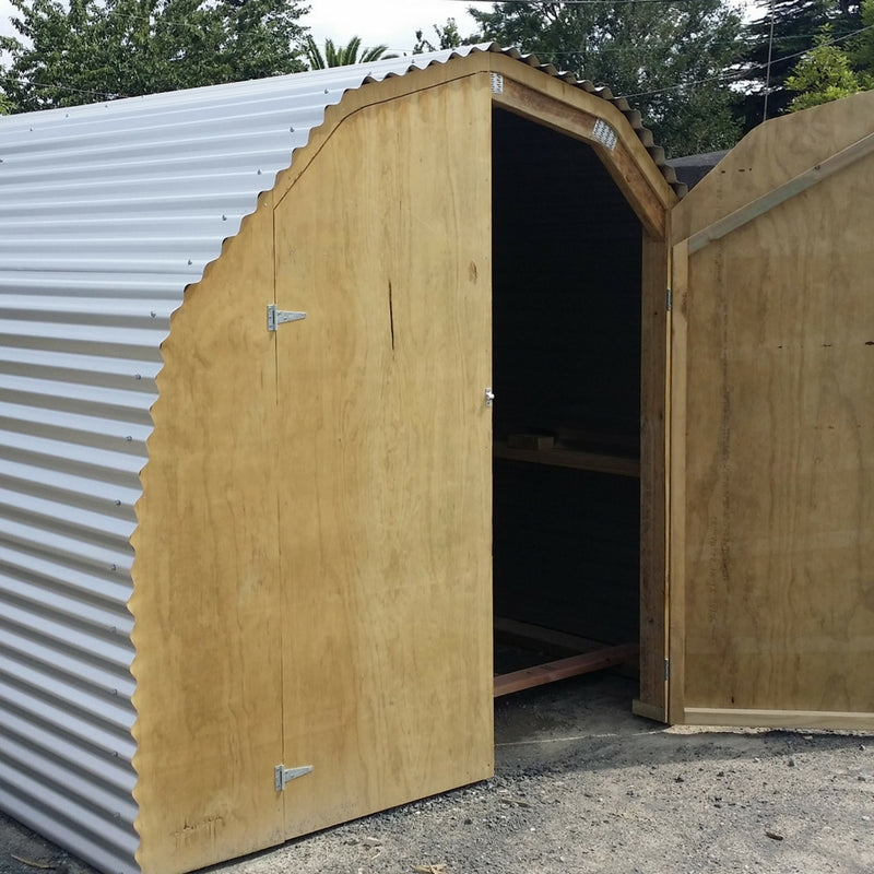 3.3m Zinc Round Shed with door one end
